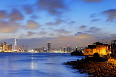 Hong Kong fishing valley at sunset Stock Photo