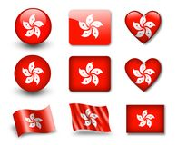 The Hong Kong flag. Set of icons and flags. glossy and matte on a white background Stock Images