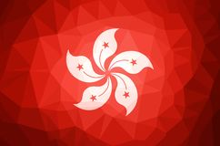 Hong Kong Flag Abstract polygon background. Vector and illustration Royalty Free Stock Photo