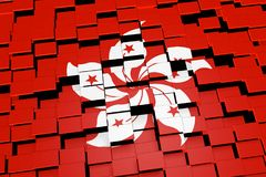 Hong Kong flag background formed from digital mosaic tiles, 3D rendering. Modern 3D rendered concept of numerous square tiles sliding together to form the Stock Photo