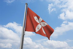 Hong Kong Flag with Clouds Stock Photos
