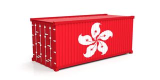 Hong Kong flag on container. 3d illustration Royalty Free Stock Images