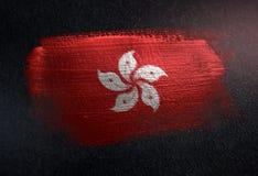 Hong Kong Flag Made de peinture métallique de brosse sur le mur foncé grunge illustration stock