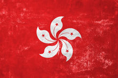 Hong Kong Flag. Hong Kong - Flag on Old Grunge Texture Background Stock Image