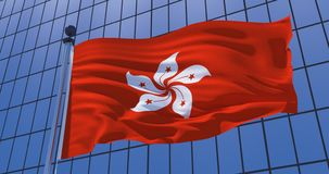 Hong Kong flag on skyscraper building background. Business concept. 3d illustration royalty free stock photography