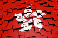 Hong Kong-Flaggenhintergrund bildete sich von den digitalen Mosaikfliesen, Wiedergabe 3D Stockfoto