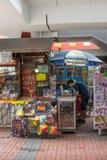 Hong Kong flerfaldiga bås som säljer marknaden Arkivfoto