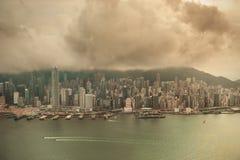 Hong Kong flyg- sikt Arkivbild