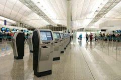 Hong Kong flygplatssjälv - incheckning Arkivfoton