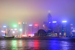 Hong Kong at foggy night Stock Photos