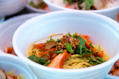 Hong Kong food, wonton noodle. In foam cup Royalty Free Stock Photo