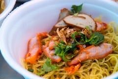Hong Kong food, wonton noodle. In foam cup royalty free stock image