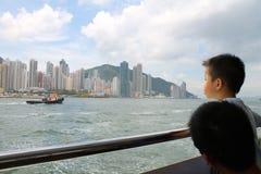 Hong Kong från färjan Arkivbilder