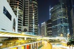 Hong Kong för affärsområde natt Fotografering för Bildbyråer