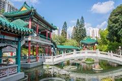 Hong Kong. Garden in the temple of Wong tai Sin. stock photos