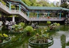 Hong Kong. Garden in the temple of Wong tai Sin. Royalty Free Stock Photo