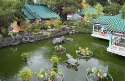 Hong Kong. Garden in the temple of Wong tai Sin. Royalty Free Stock Photography
