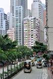 Hong Kong gata och buss Arkivfoton
