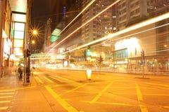 Hong Kong gata på natten - tapet Royaltyfria Bilder