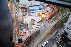 Hong Kong gatasikt - konstruktionsplats Arkivbild