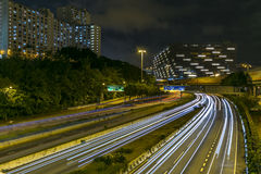 Hong Kong Glowing tracks. Good place for shooting the track at night in Hong Kong Stock Photo