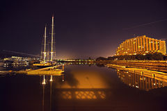 Hong-Kong Gold Coast en la noche Imagen de archivo