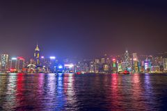Hong Kong, Grudzień - 9, 2017 Nowego roku i bożych narodzeń linii horyzontu shi Zdjęcia Stock