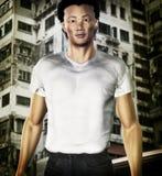 Hong Kong Guy. 3d render of Asian guy with Hong Kong City Background Royalty Free Stock Photography