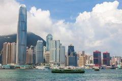 Hong Kong gwiazdy i linii horyzontu promy Obraz Royalty Free