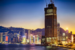 Hong kong habour sunset Royalty Free Stock Photo