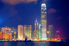 Hong Kong hamn på natten Arkivbild