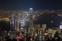 Hong Kong hamn på natten Arkivfoto