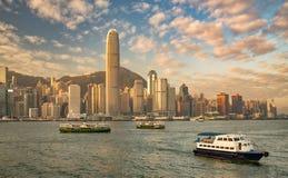 Hong Kong hamn på soluppgång Royaltyfri Fotografi