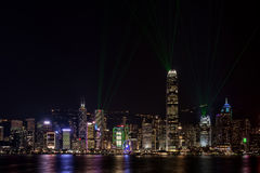 Hong Kong Harbor Bathed in Lasers Stock Images