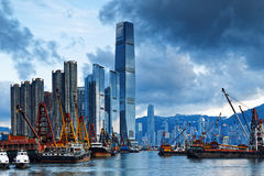 Hong Kong Harbor with cargo ship Stock Images