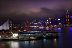 Hong Kong Harbor Clock Tower Night Star Ferry Royalty Free Stock Photos