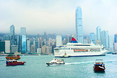 Hong Kong harbor and ferry Stock Photos