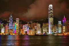 Hong kong harbor at night Royalty Free Stock Image