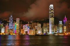 Hong kong harbor at night Royalty Free Stock Image