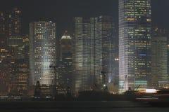 Hong Kong Harbor, Night Scene. Buildings of Hong Kong Harbor by night Stock Photos