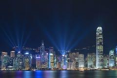 Hong Kong Harbor på natten Fotografering för Bildbyråer