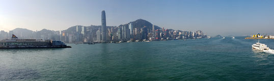 Hong Kong Harbor Panorama fotos de stock