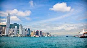 Hong Kong Harbor. With Skyline Stock Photography