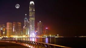 Hong kong harbor skylines. View of hong kong harbor skylines at night from wan chai promenade Royalty Free Stock Photography
