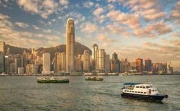 Hong Kong harbor at sunrise Royalty Free Stock Photography