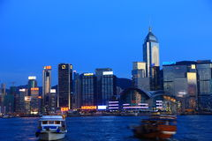 Hong Kong harbor view at dusk Royalty Free Stock Image
