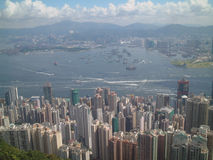 Hong Kong Harbour. Busy harbour shot of Hong Kong from Peak Stock Photo