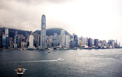 Hong Kong harbour and city buildings Royalty Free Stock Images