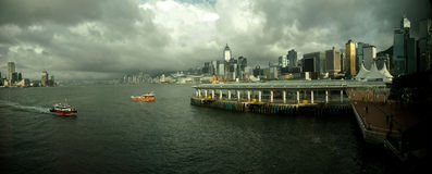 Hong kong harbour and Cloudly sky. Star Ferry N.09 Port - Central to T.S.T Royalty Free Stock Photo
