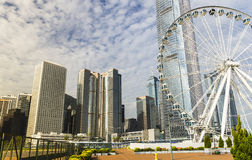 Hong Kong. Harbour with ferris wheel Royalty Free Stock Photo